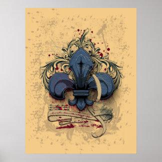 Efectos azules del grunge del metal de la flor de  póster