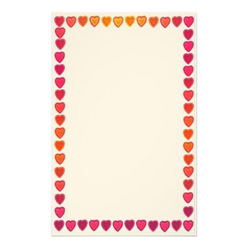 Efectos de escritorio alegres de los corazones papelería de diseño