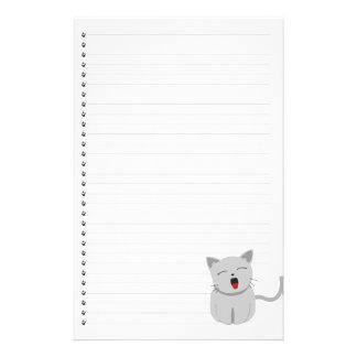 Efectos de escritorio alineados gatito de bostezo papeleria personalizada
