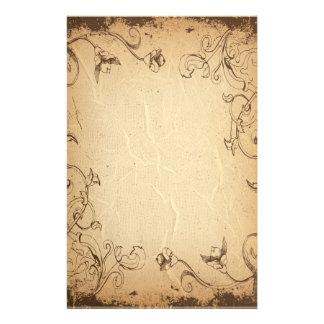 Efectos de escritorio antiguos arrugados florales papelería de diseño