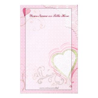 Efectos de escritorio artsy del corazón personalized stationery