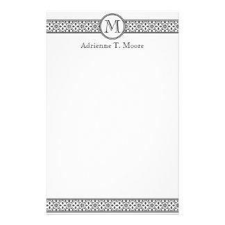 Efectos de escritorio blancos negros florales de l papelería de diseño