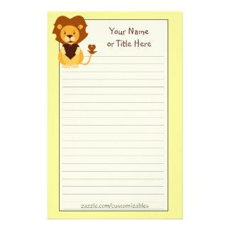 Efectos de escritorio cariñosos del león personalized stationery