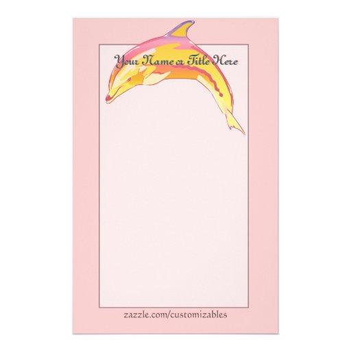 Efectos de escritorio coloridos del delfín papeleria personalizada