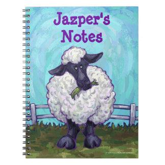 Efectos de escritorio de las ovejas libretas espirales