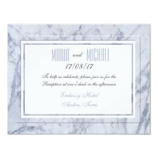 """Efectos de escritorio de mármol blancos del boda invitación 4.25"""" x 5.5"""""""