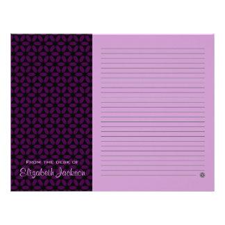 Efectos de escritorio de papel alineados púrpura plantillas de membrete