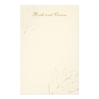 Efectos de escritorio del boda de la hoja del robl papeleria personalizada