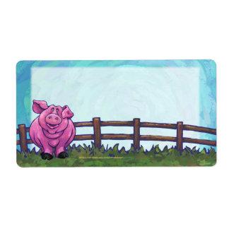 Efectos de escritorio del cerdo etiqueta de envío
