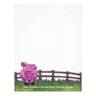 Efectos de escritorio del cerdo membrete personalizado