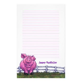 Efectos de escritorio del cerdo papeleria personalizada