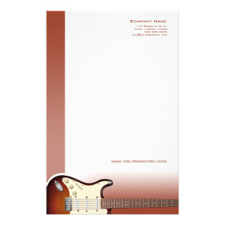 Efectos de escritorio del empujador de la guitarra  papeleria de diseño