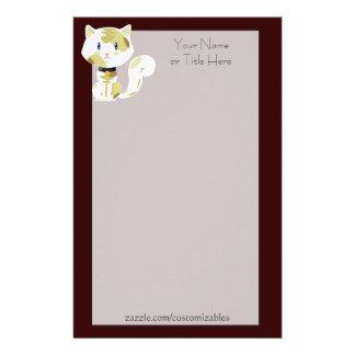 Efectos de escritorio del gato de calicó papelería de diseño