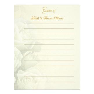 Efectos de escritorio del Guestbook del boda - ros Plantilla De Membrete