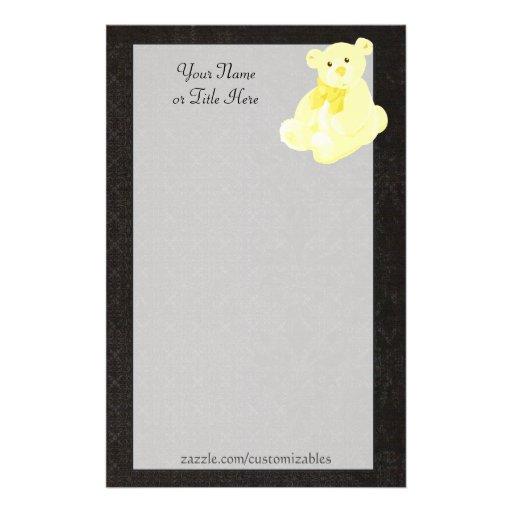 Efectos de escritorio del oso de peluche del oro papelería personalizada