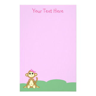 Efectos de escritorio del rosa del mono de la niña personalized stationery