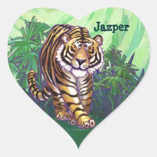 Efectos de escritorio del tigre calcomania de corazon personalizadas