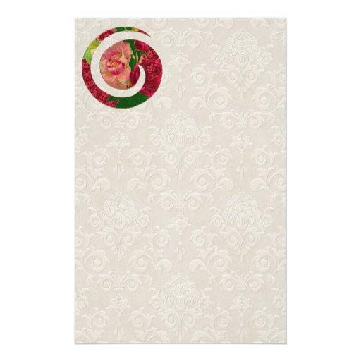 Efectos de escritorio espirales florales del adorn papelería de diseño