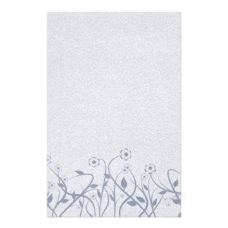 Efectos de escritorio florales azules simples de S Papelería De Diseño