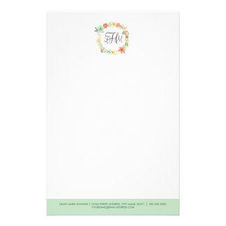 Efectos de escritorio florales dulces del monogram papeleria personalizada