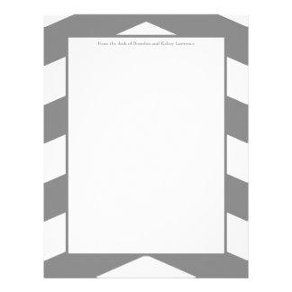 Efectos de escritorio grises y blancos de Chevron Membrete Personalizado