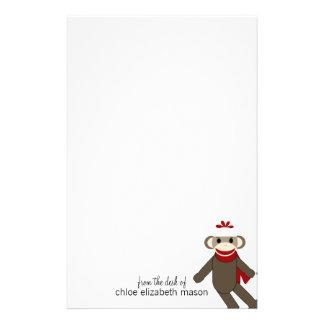 Efectos de escritorio lindos del mono del calcetín papelería personalizada