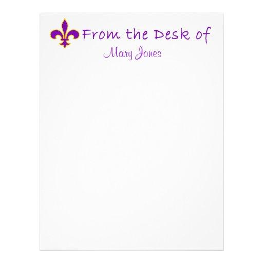 Efectos de escritorio púrpuras bonitos del persona plantillas de membrete