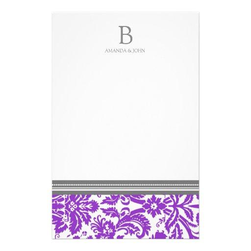 Efectos de escritorio púrpuras del monograma del b papelería