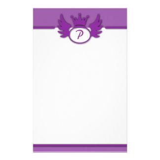 Efectos de escritorio púrpuras del monograma del d papelería