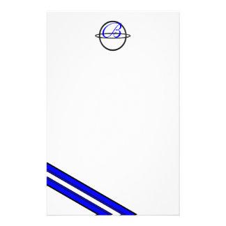 Efectos de escritorio rayados azules del monograma personalized stationery