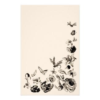 Efectos de escritorio retros de las flores papeleria personalizada