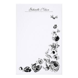 Efectos de escritorio retros de las flores papeleria de diseño