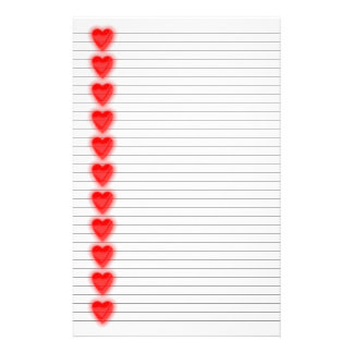 Efectos de escritorio rojos del corazón - líneas o  papeleria