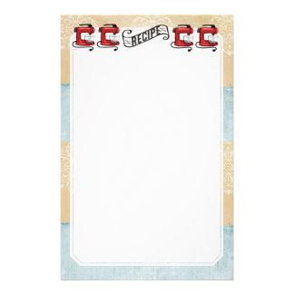 Efectos de escritorio rojos retros de la tarjeta personalized stationery
