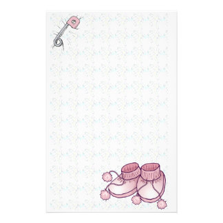 Efectos de escritorio rosados de Bootie del bebé Papeleria Personalizada