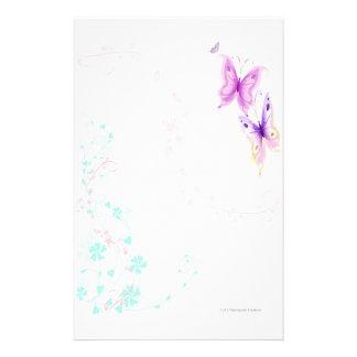 Efectos de escritorio rosados de las mariposas papeleria