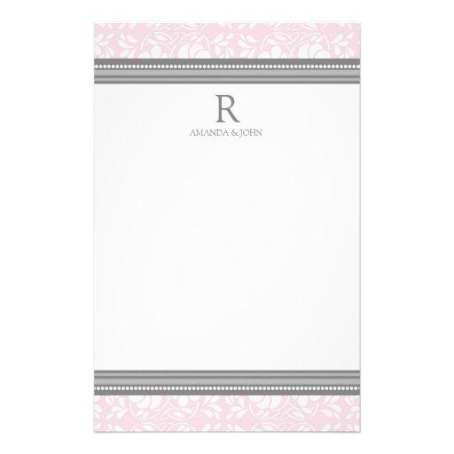 Efectos de escritorio rosados del monograma del bo papeleria de diseño