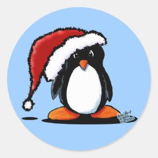 Efectos de escritorio y pegatinas del pingüino de etiqueta redonda