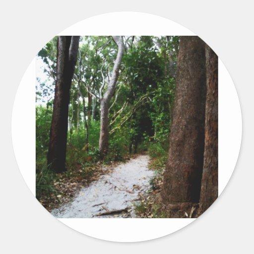 Efectos de la acuarela de la selva tropical pegatina redonda