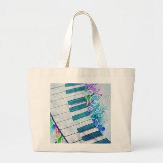Efectos luminosos del piano circular azul fresco i bolsa tela grande
