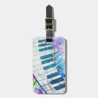 Efectos luminosos del piano circular azul fresco i etiqueta para maleta