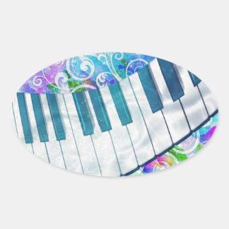 Efectos luminosos del piano circular azul fresco pegatina ovalada
