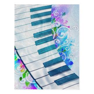 Efectos luminosos del piano circular azul fresco tarjetas postales