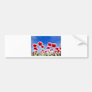 Efectos luminosos en el grupo de tulipanes rojos pegatina para auto