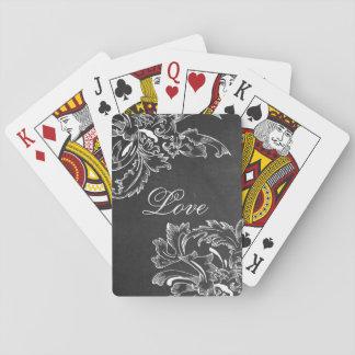 efectos negros florales dibujados mano de moda de  baraja de cartas