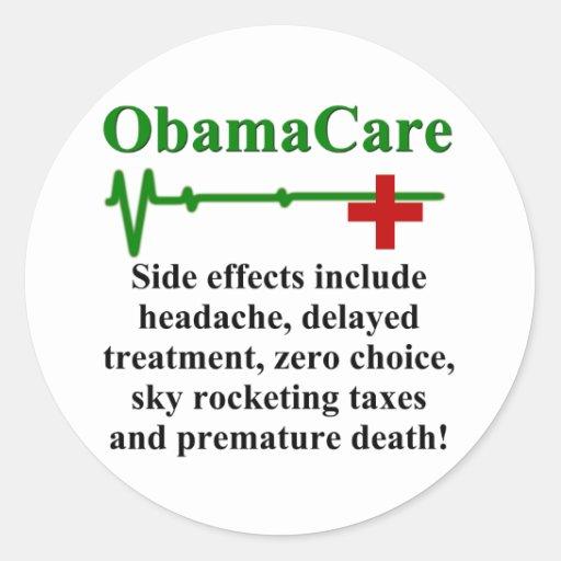 Efectos secundarios de ObamaCare Pegatina Redonda