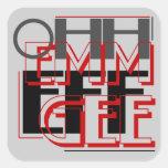 EFF de OMFG Ohh Emm Gee Calcomanía Cuadradas