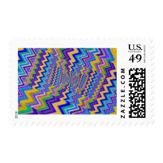 effect droste of multicoloured vortex postage