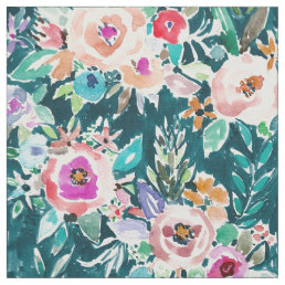 EFFUSIVE FLORAL Bold Colorful Boho Watercolor Fabric