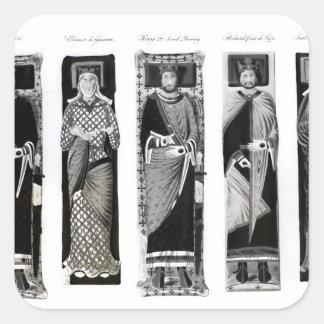 Efigies de Henry II Eleanor de Aquitania Calcomanía Cuadradase